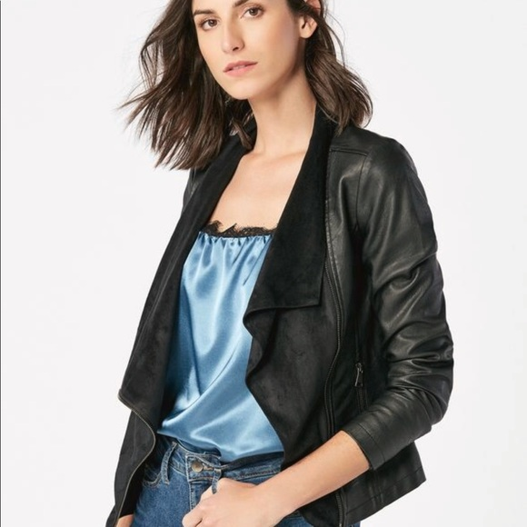 0040ddcae8 JustFab Jackets & Coats | Just Fab Faux Leather Waterfall Jacket ...